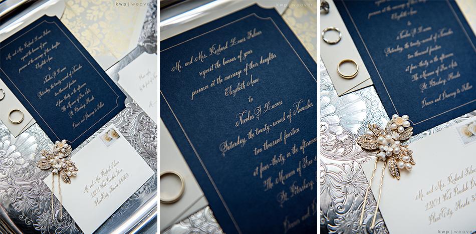 Elegant navy and gold wedding invitation suite