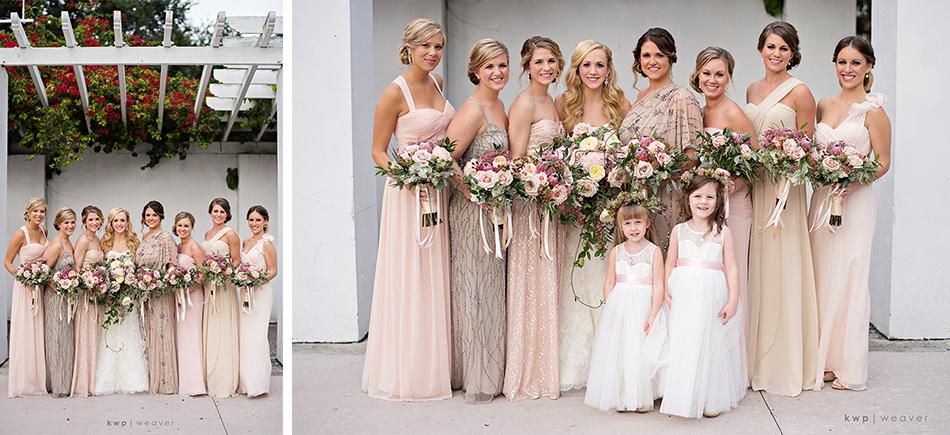 Mix-match bridesmaid gowns