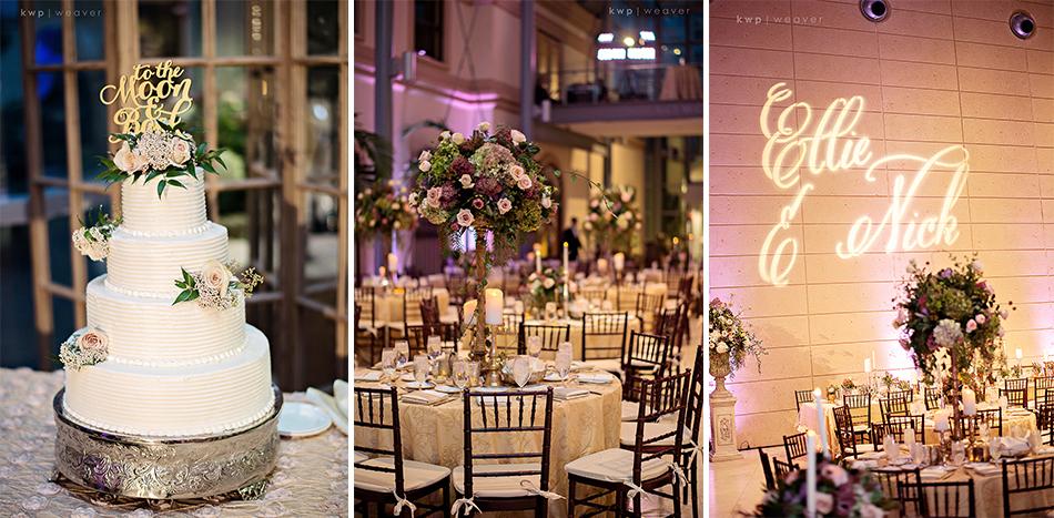 Wedding cake and custom gobo light