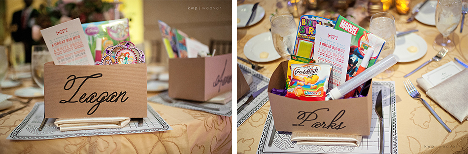 Kids place settings at wedding