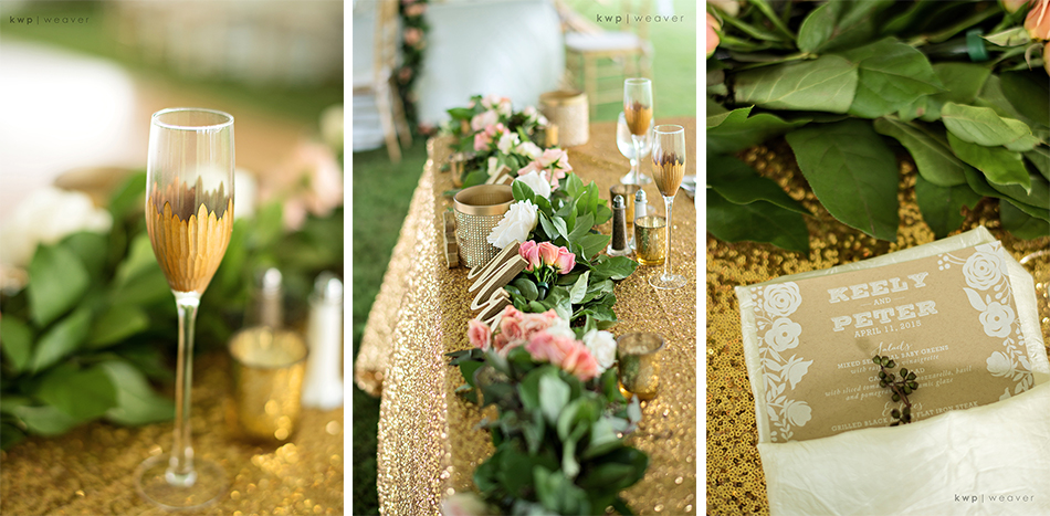 Gold reception details and ivy garland
