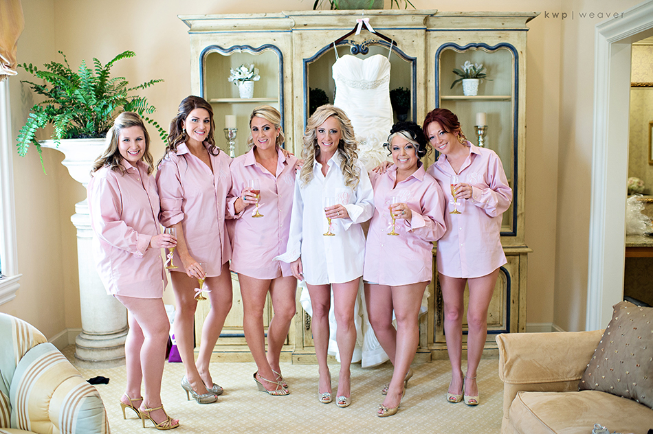 bridesmaids pink shirts