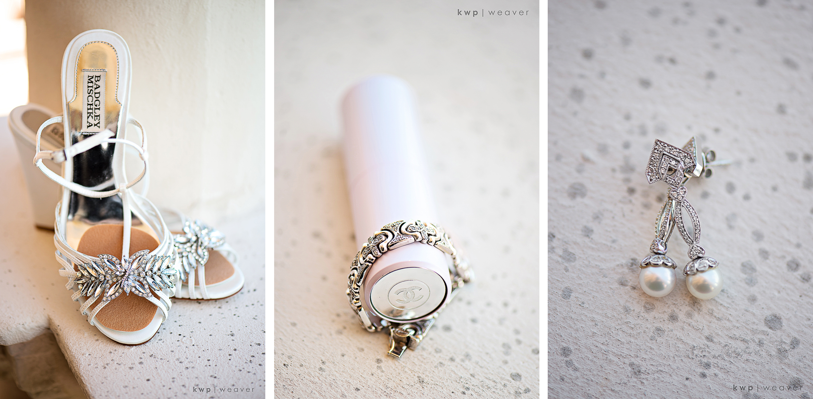 white and silver bridal details