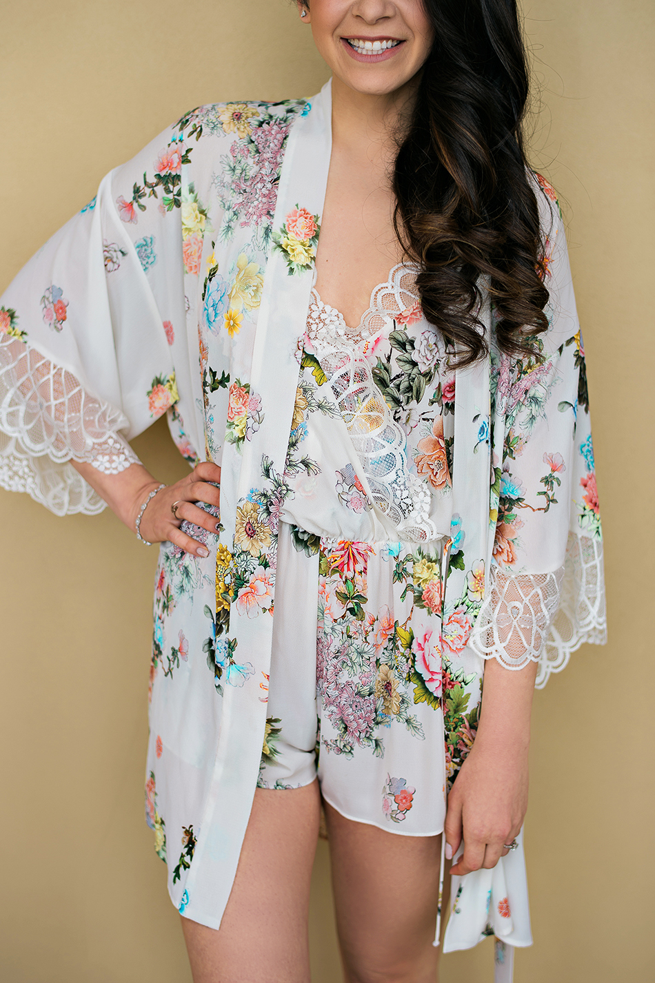 floral wedding robe