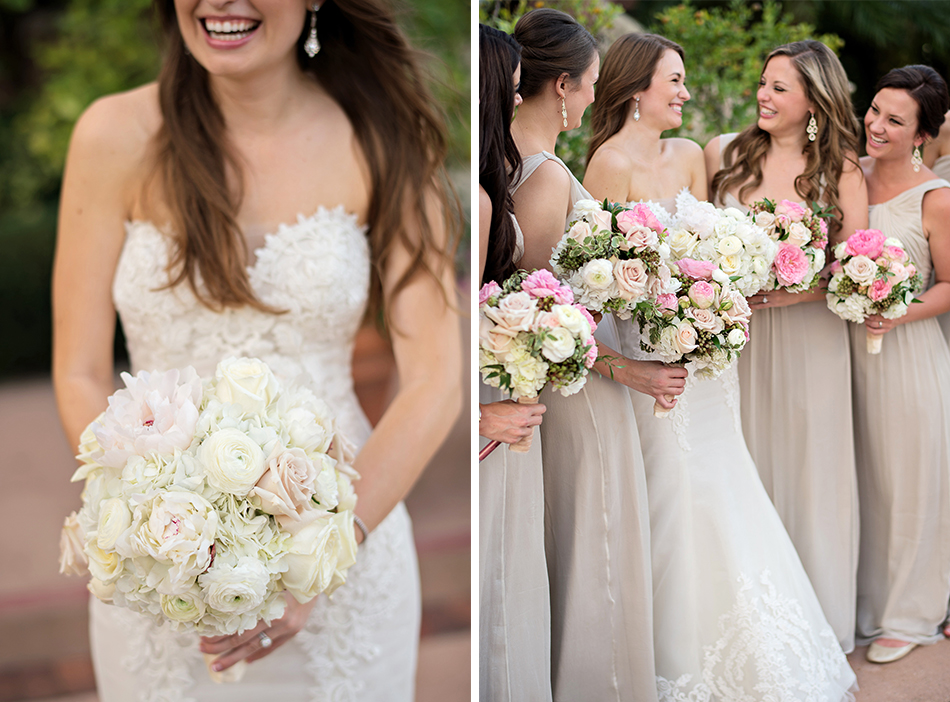 pink and nude bridesmaids