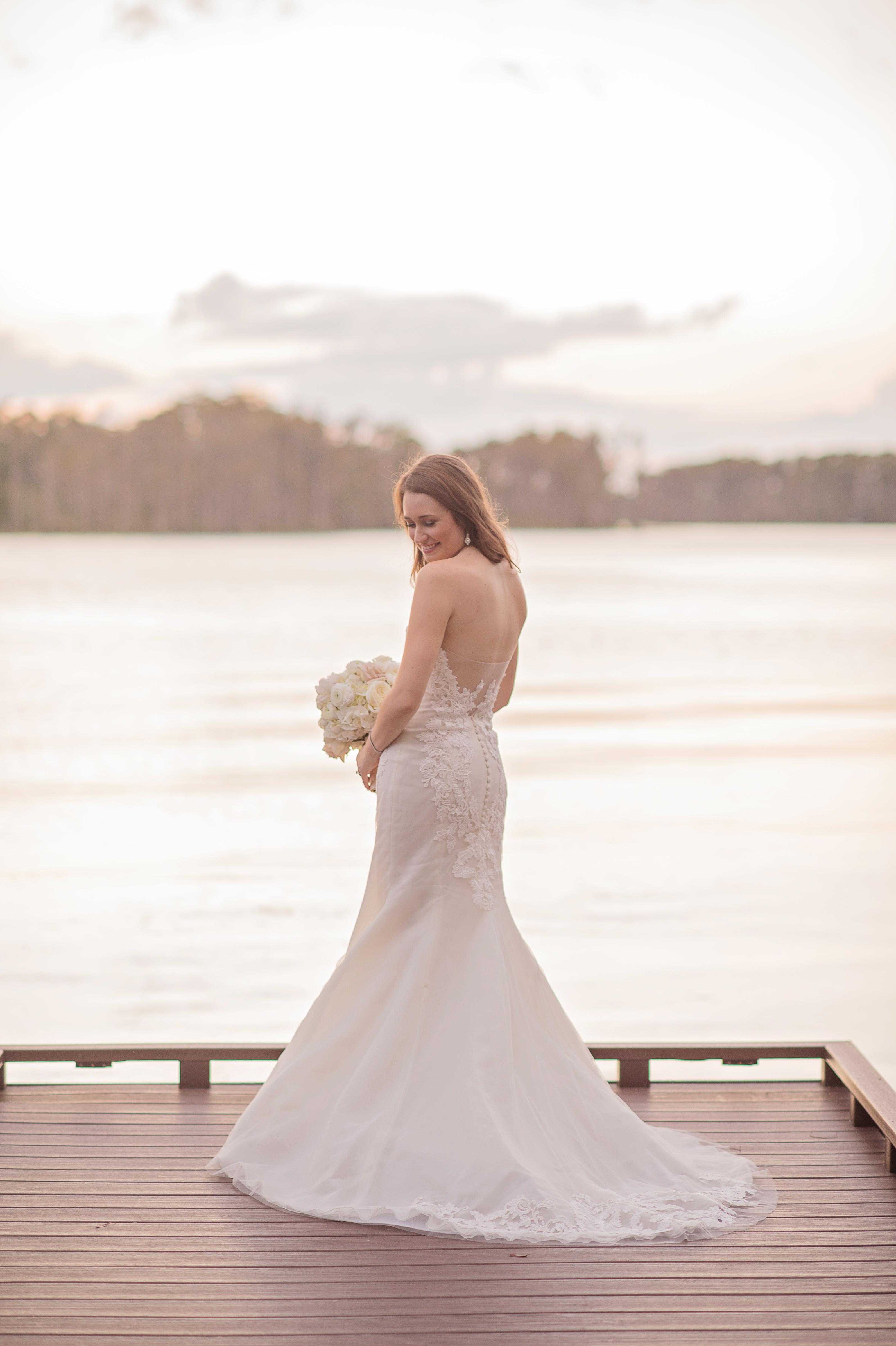 modern bride sunset