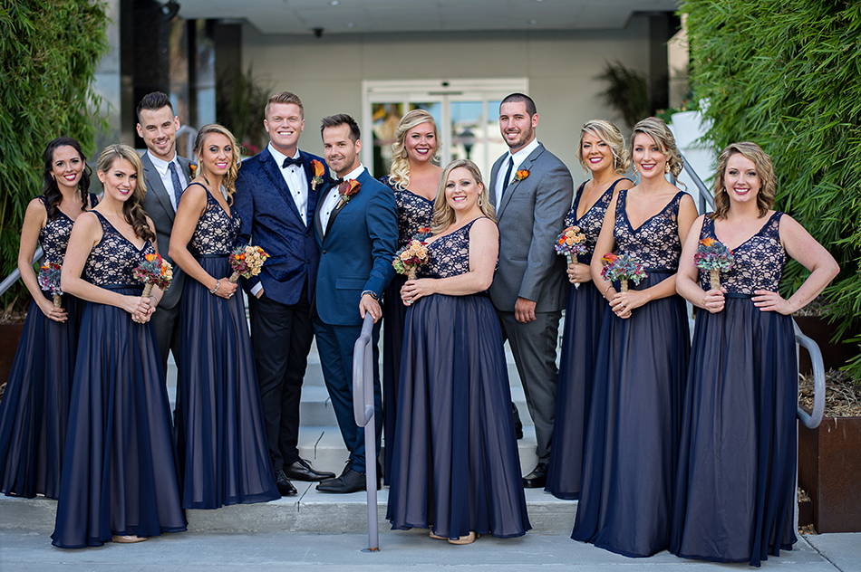 navy wedding party