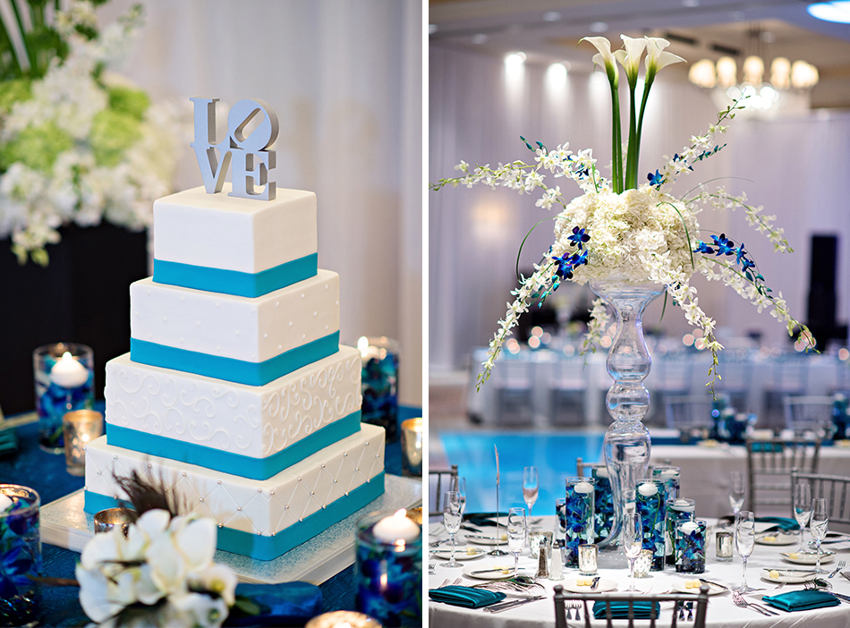 blue wedding reception details