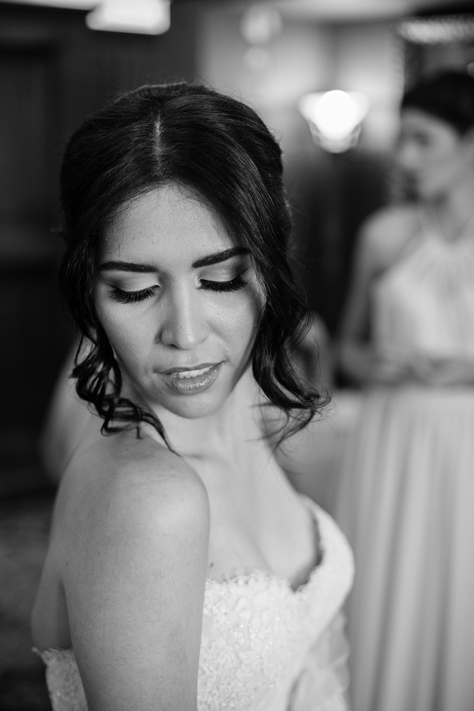 black and white bride