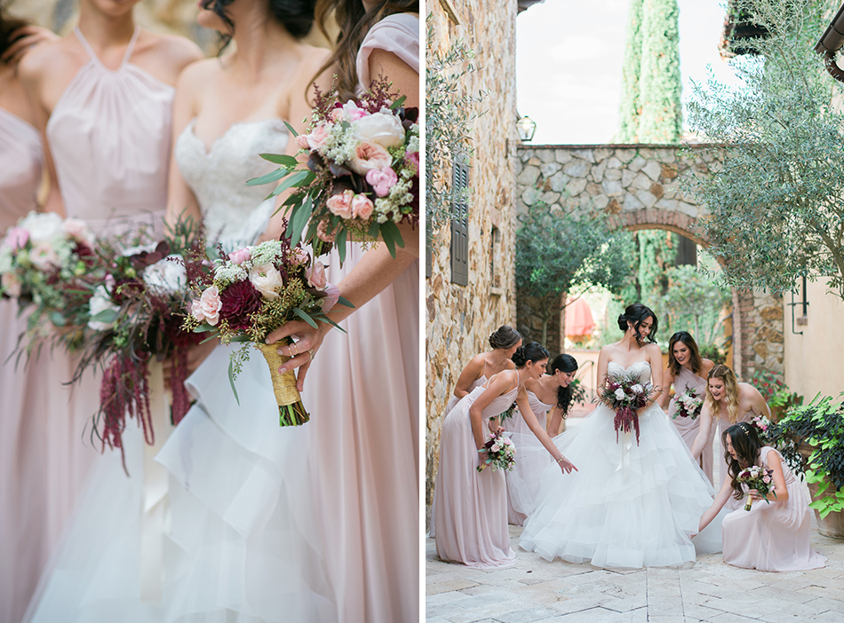blush and maroon bridesmaids
