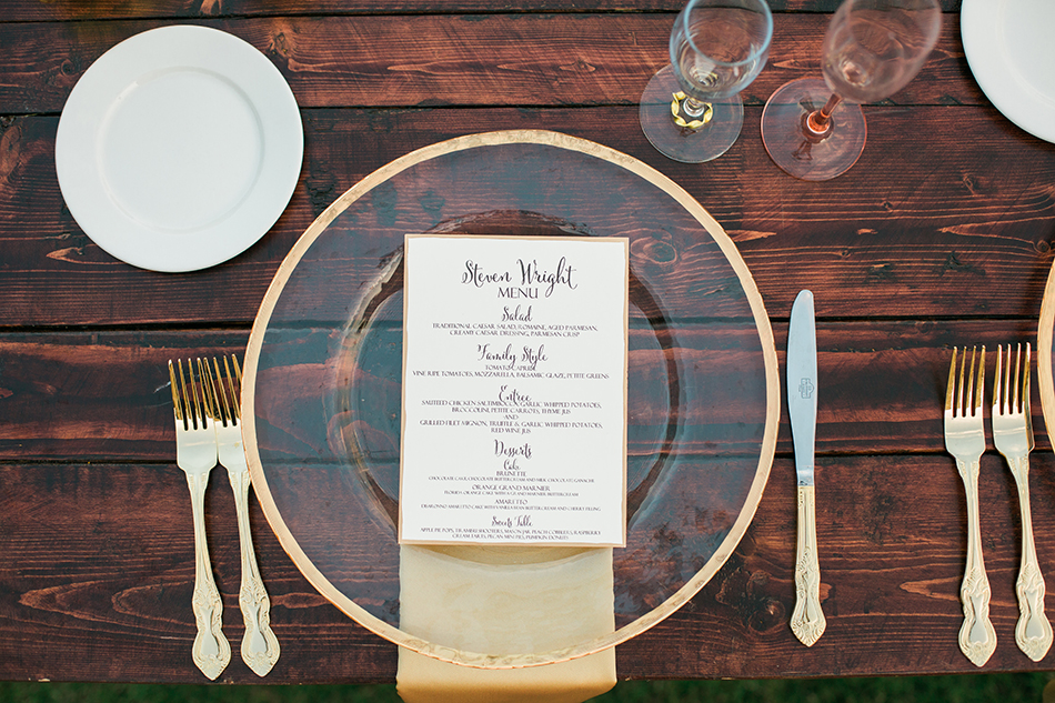 wedding dishware menu