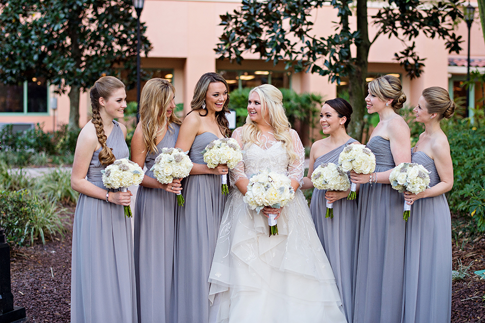 white and purple bridesmaids