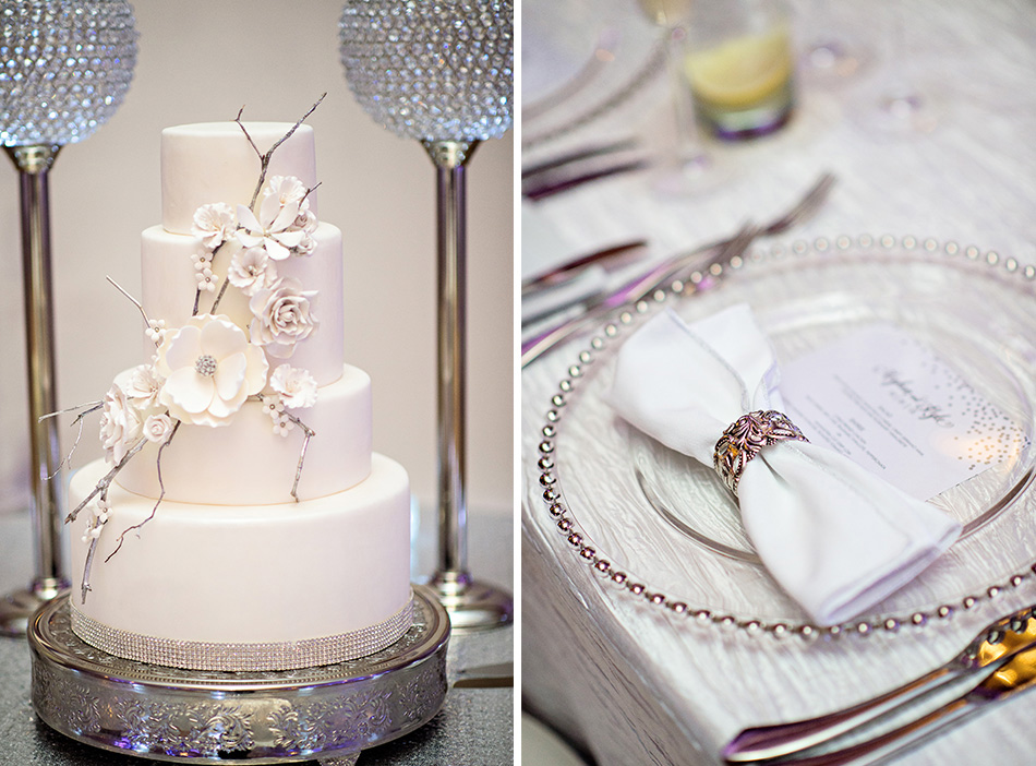 all white and silver reception details