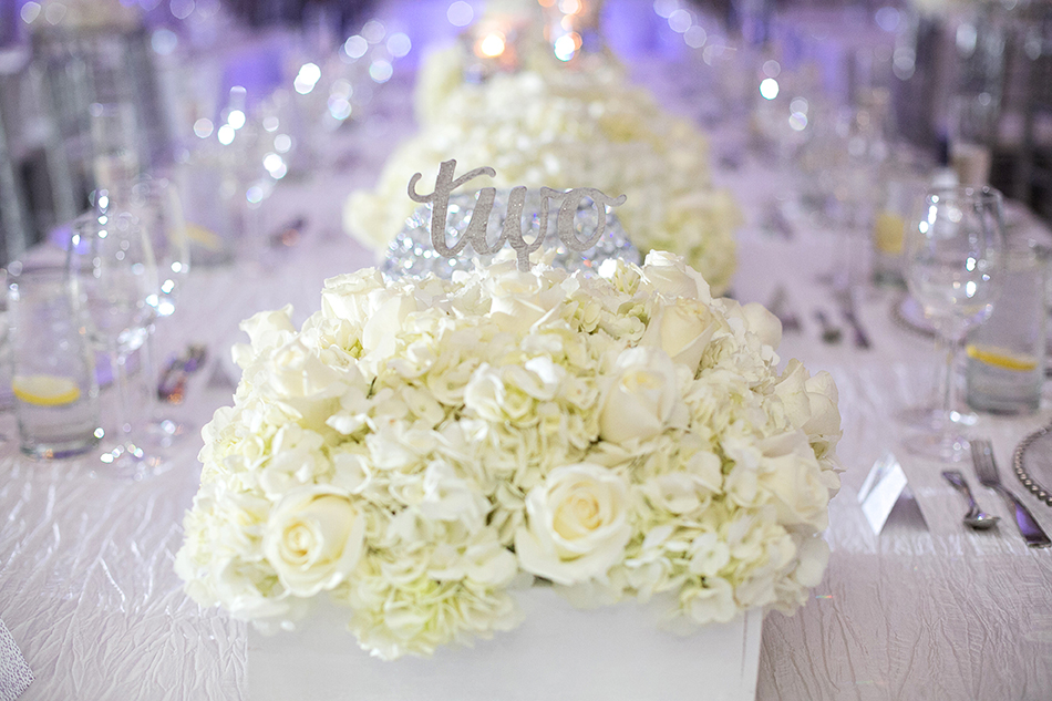 white rose wedding reception decor