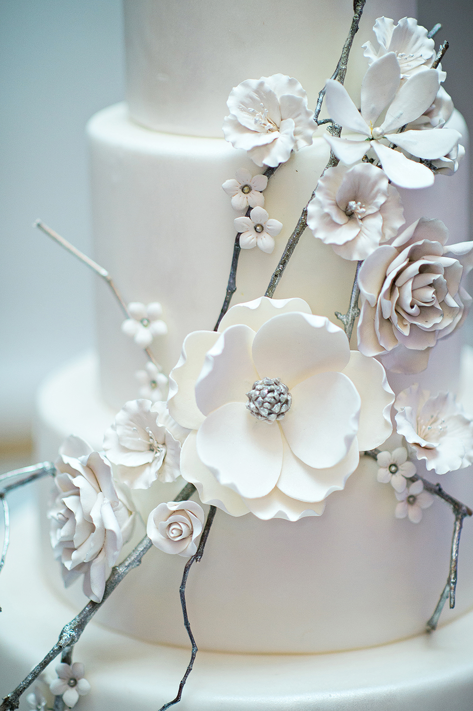 silver and white winter wedding cake