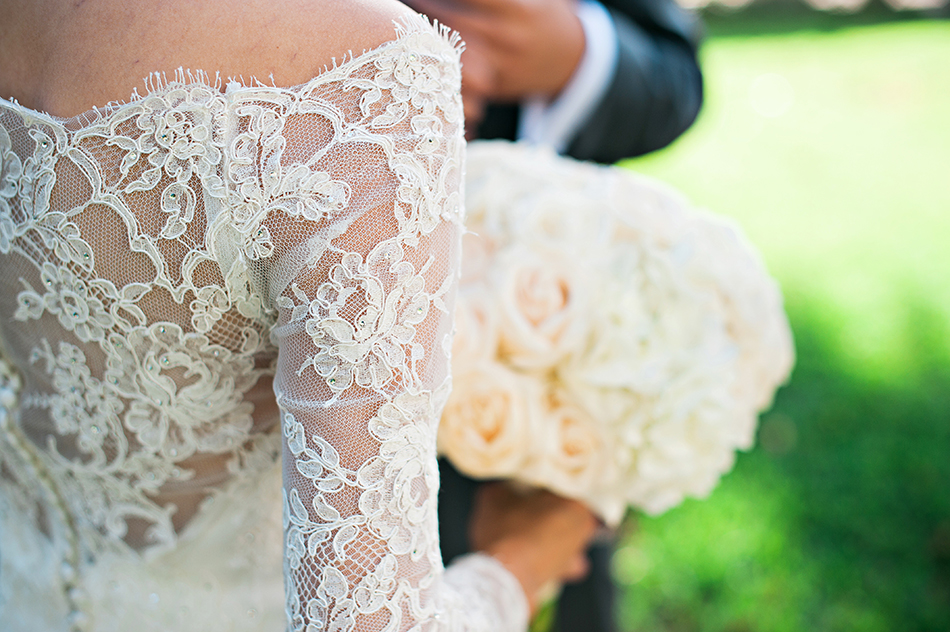 lace wedding gown detail