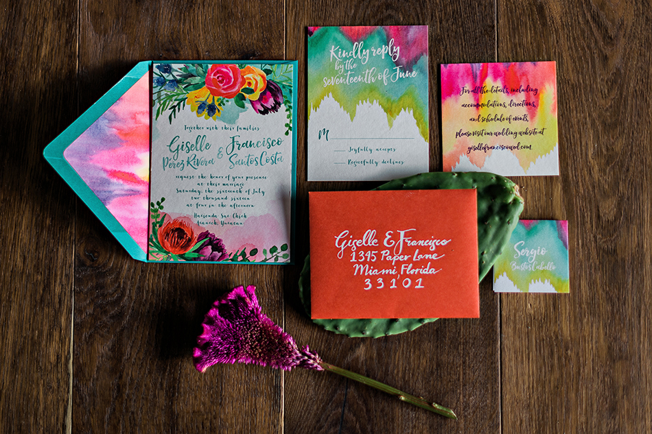 unique colorful wedding stationery