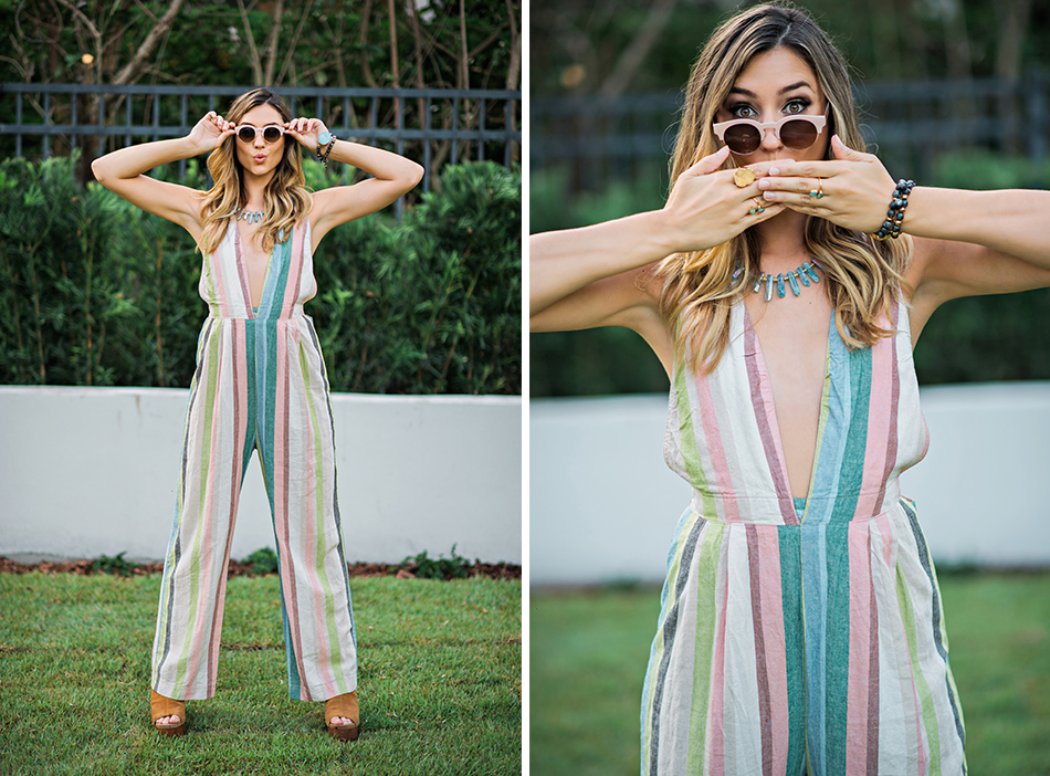 free people striped jumpsuit
