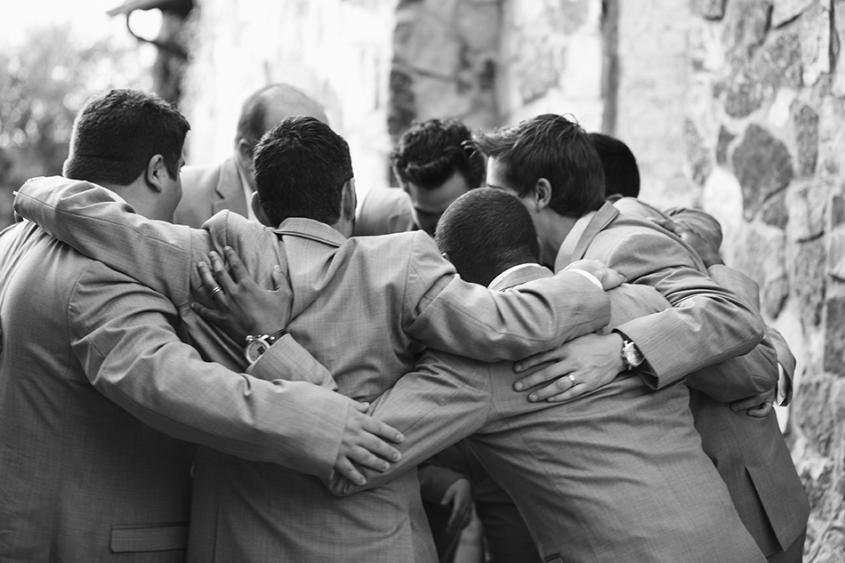 black and white groomsmen photography