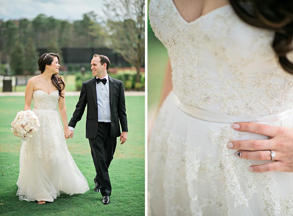 Reem Acra wedding gown details