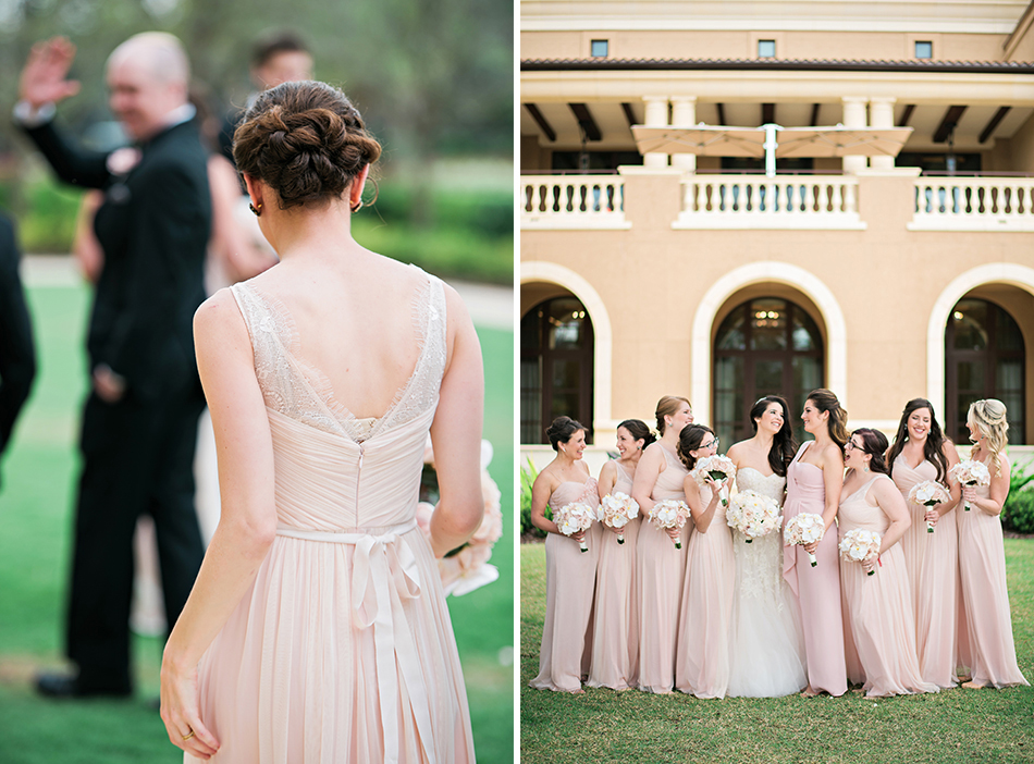 light pink long bridesmaid gowns
