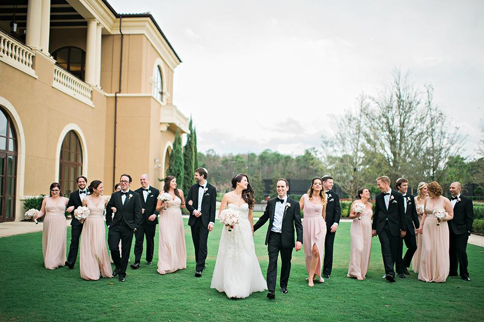 large wedding party portrait