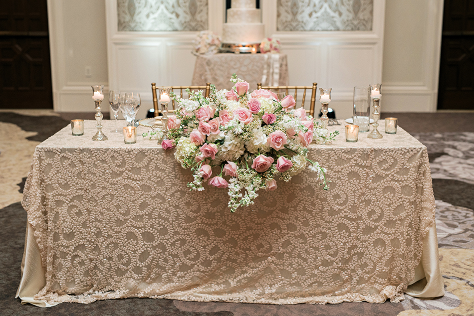 gorgeous blush and pink reception space