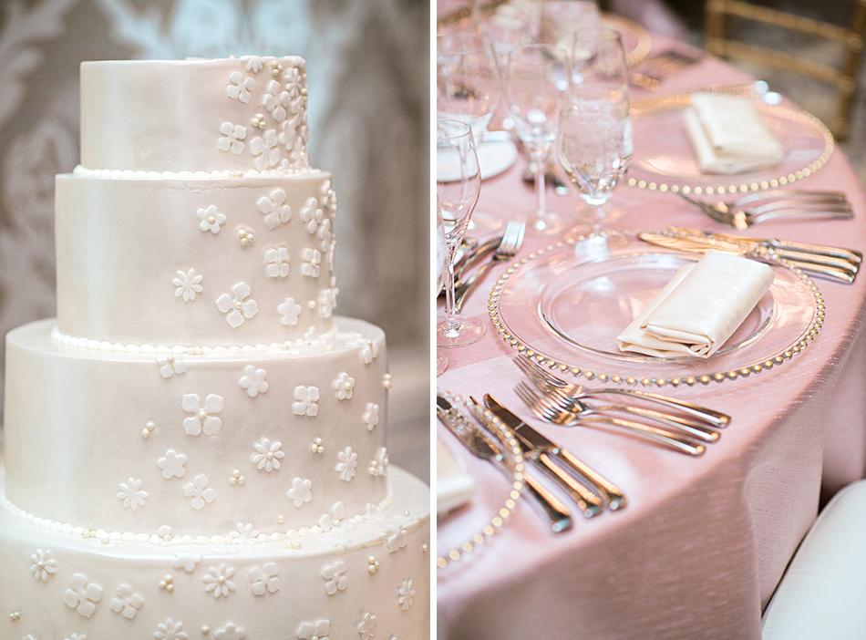 blush and white wedding reception details