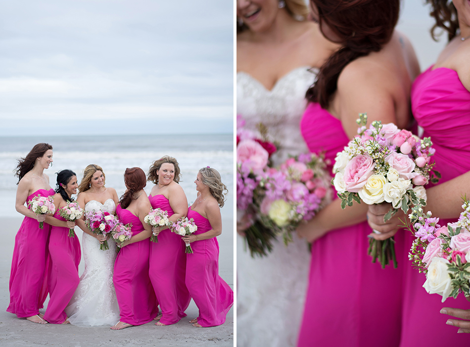 hot pink bridesmaid gowns