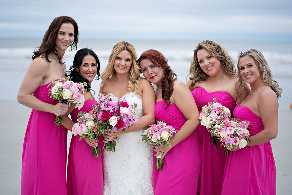 blush and hot pink bridesmaids