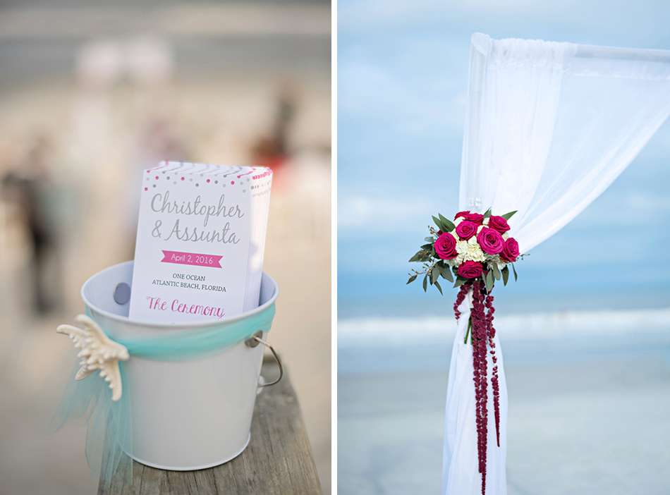 pink and white beach wedding