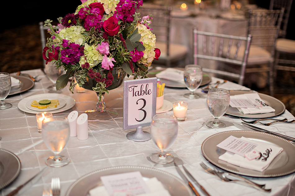 gorgeous green and pink centerpiece