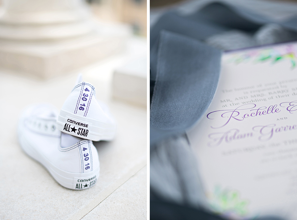 purple wedding day details