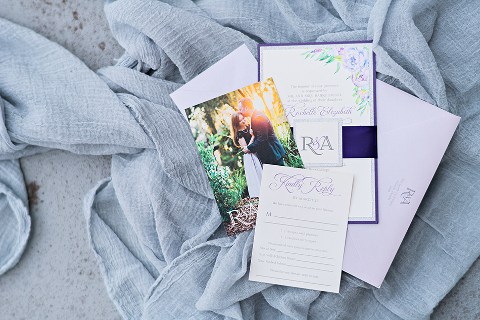 purple wedding stationery