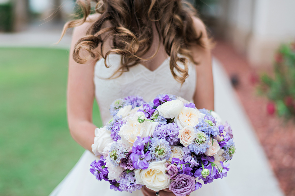 lush purple and white bouquet