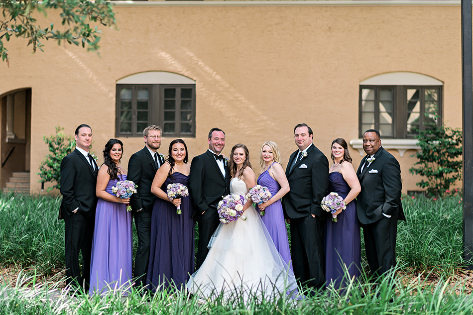 purple and white wedding party