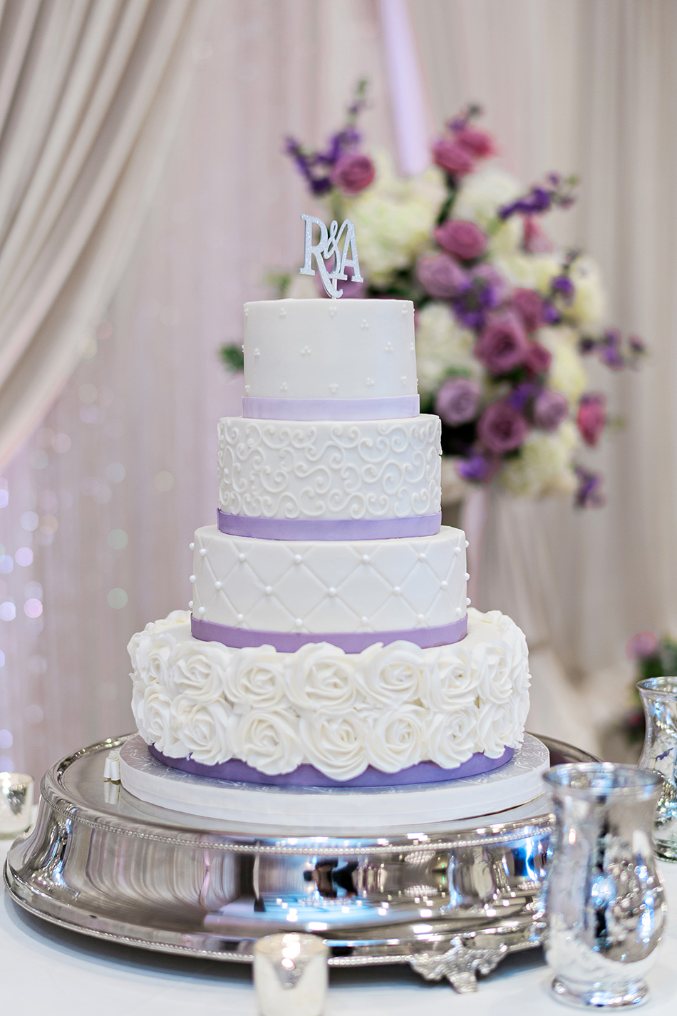 purple and white glamorous wedding cake