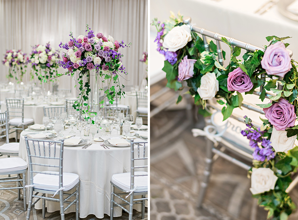 purple rose wedding decor