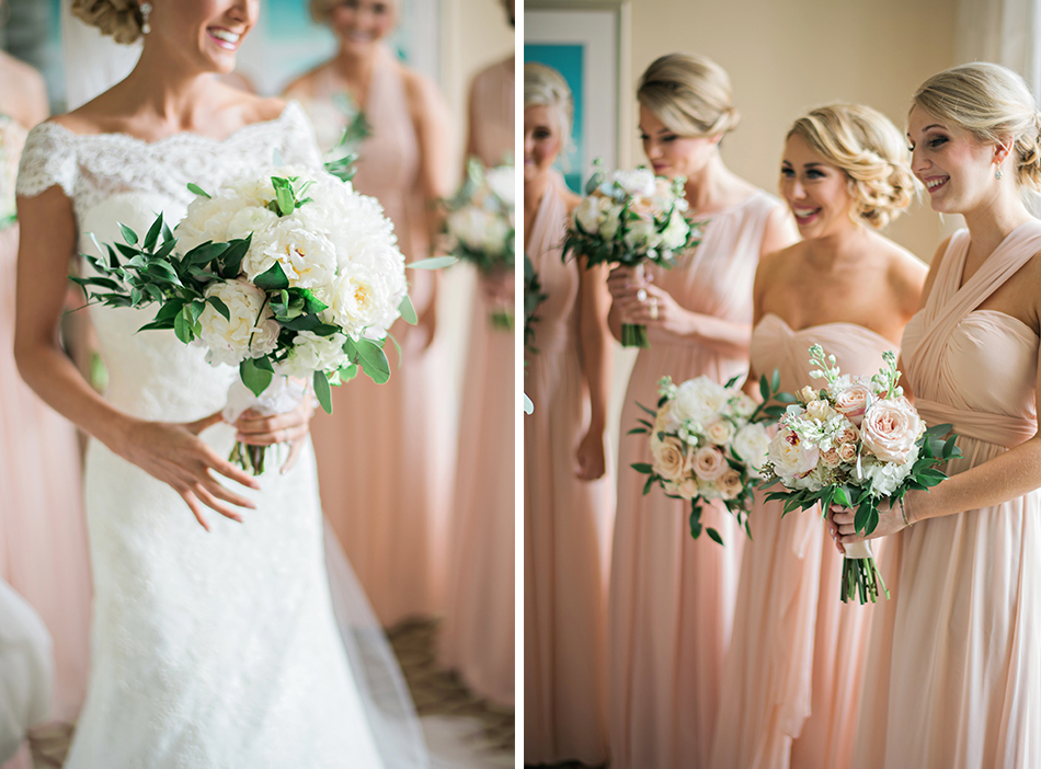 gorgeous light pink bridesmaid gowns