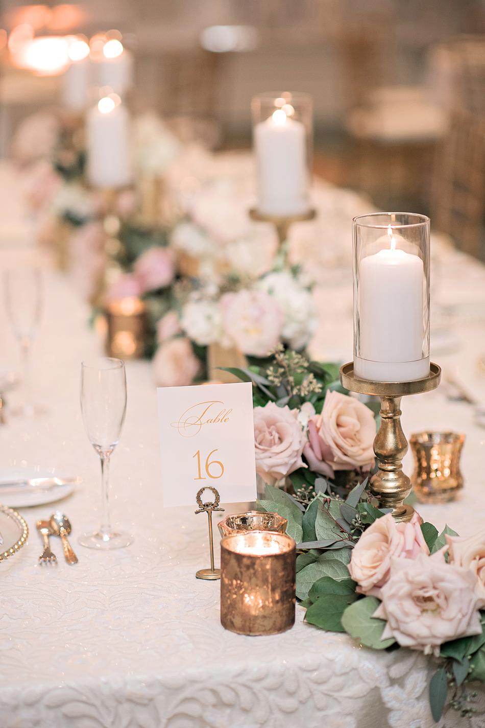 floral wedding reception blush