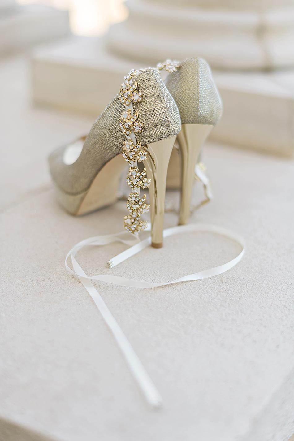 Jimmy Choo gold sparkle wedding shoes