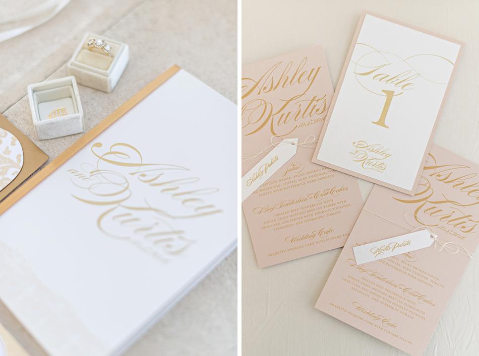Blush and gold wedding menu and programs