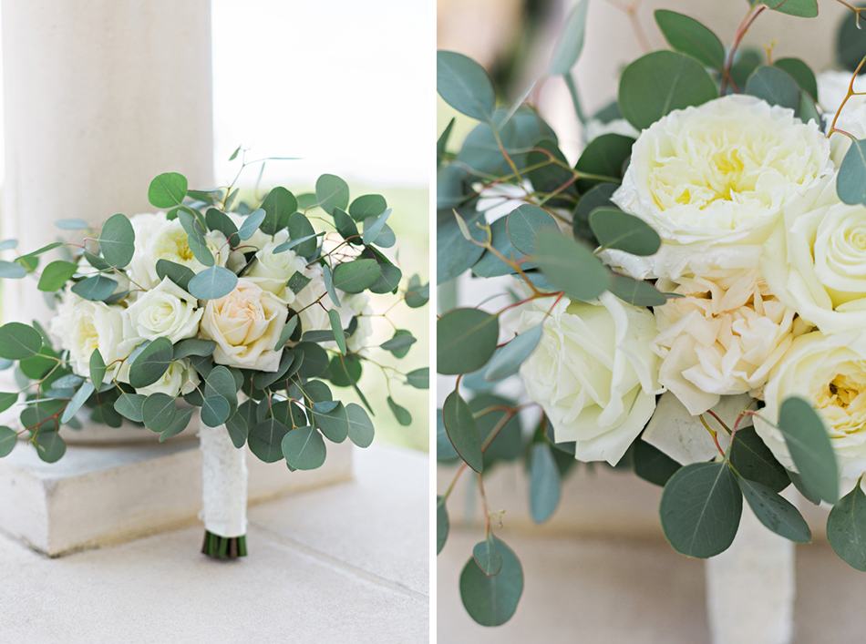 White and green organic wedding bouquet