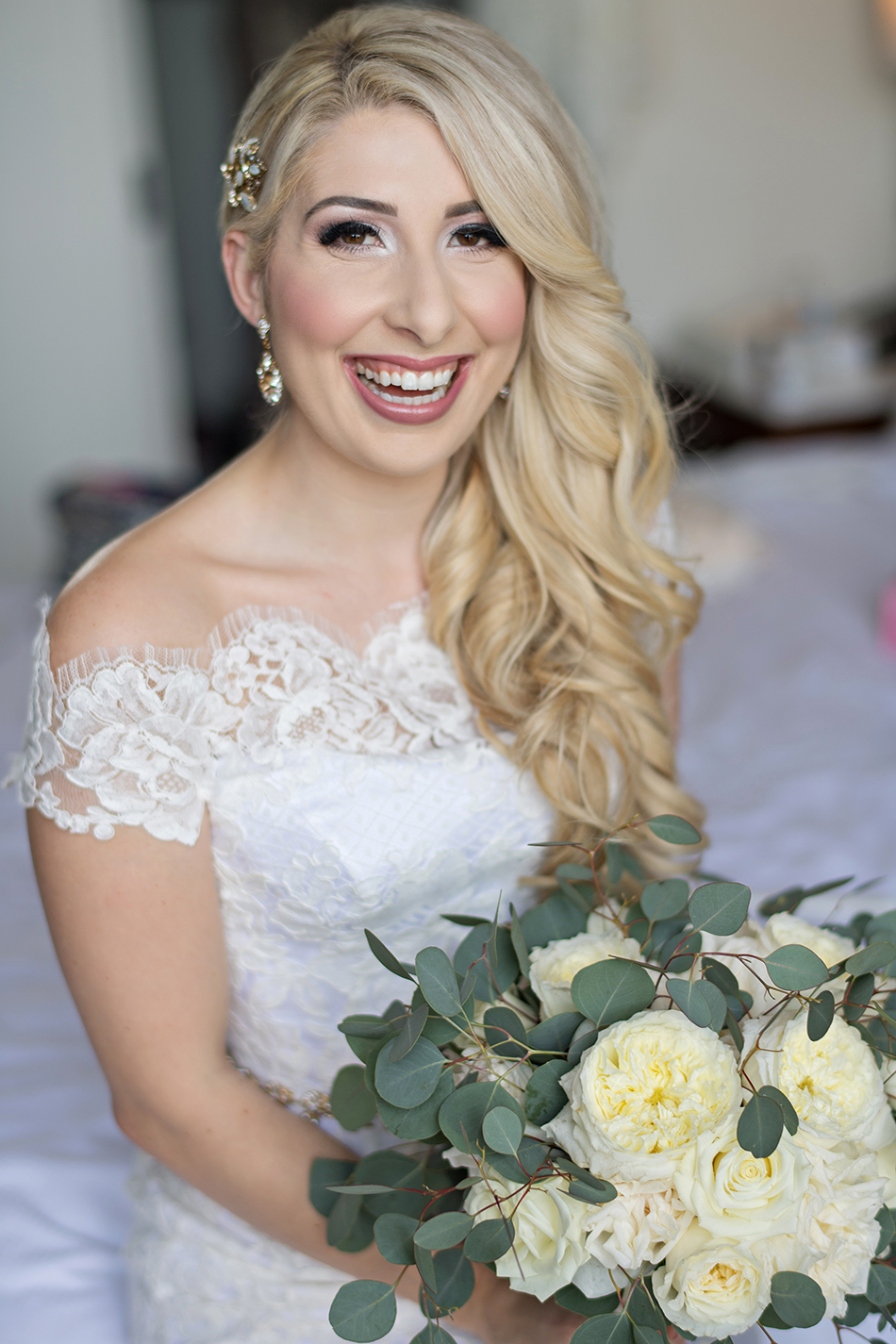 Glamorous wedding day hair and makeup