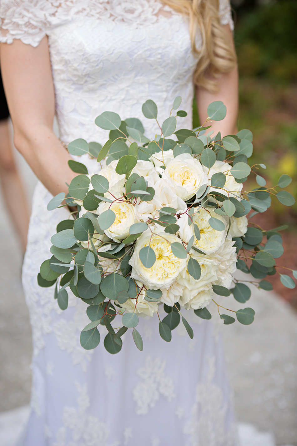 Ivory and green wedding bouquet