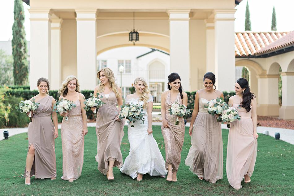 Blush mix-match bridesmaids dresses