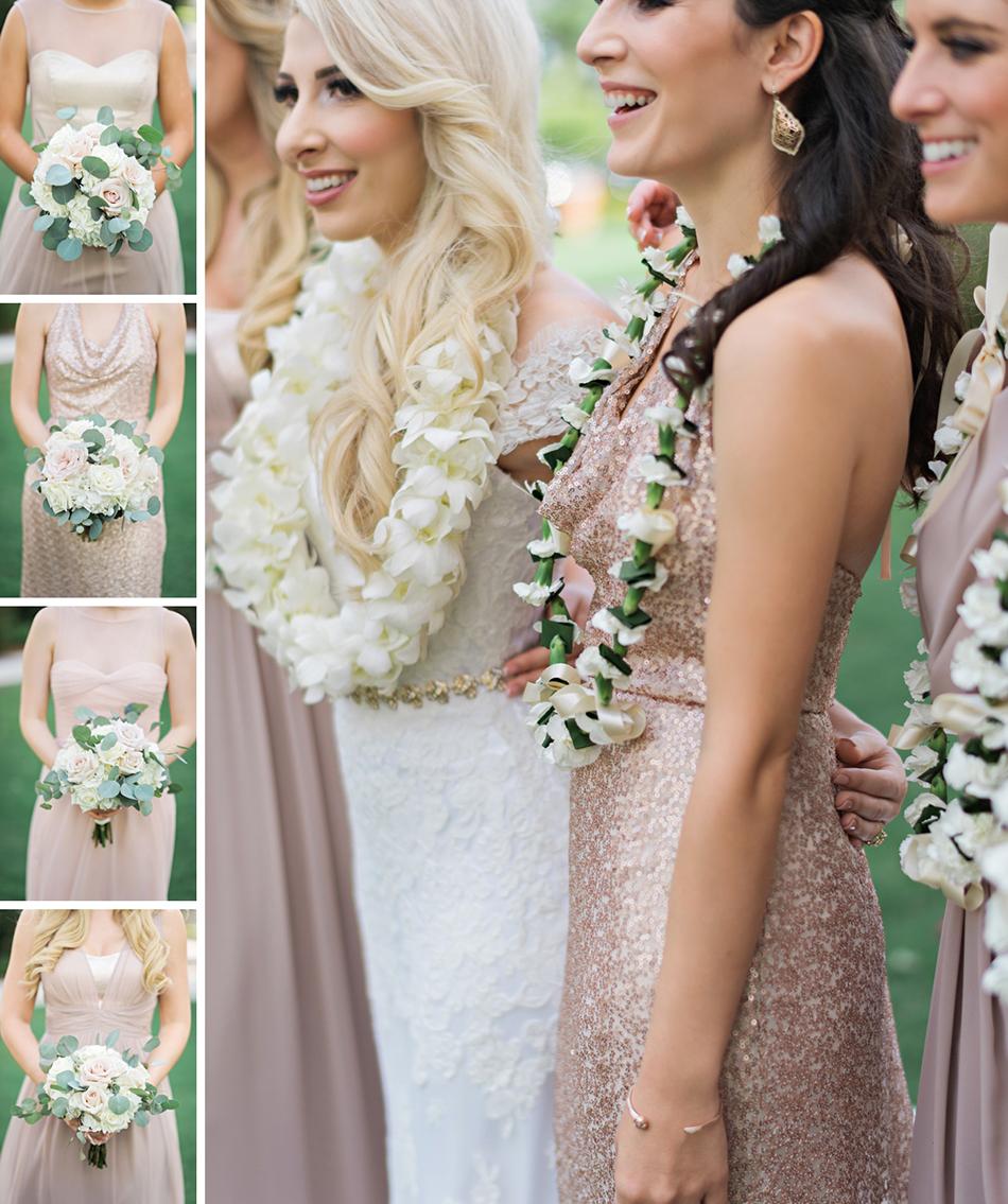 Blush wedding dress and bridesmaids dresses