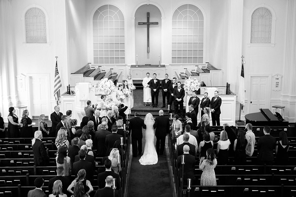 Black and white church wedding ceremony