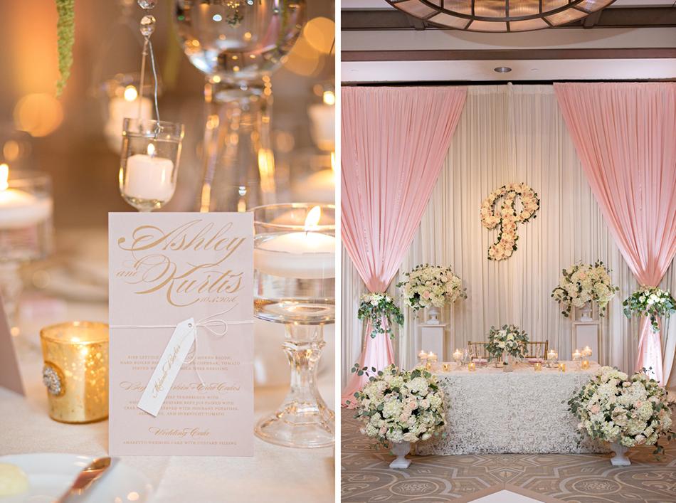 Unique reception decor - lush floral design, floral monogram