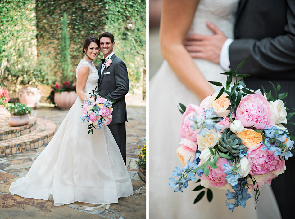 Summer wedding bouquet with succulents and pastel pink and blue colors